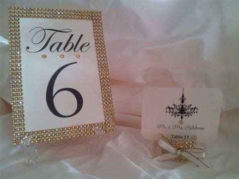 GOLD Rhinestone Place card, escort card holders with any