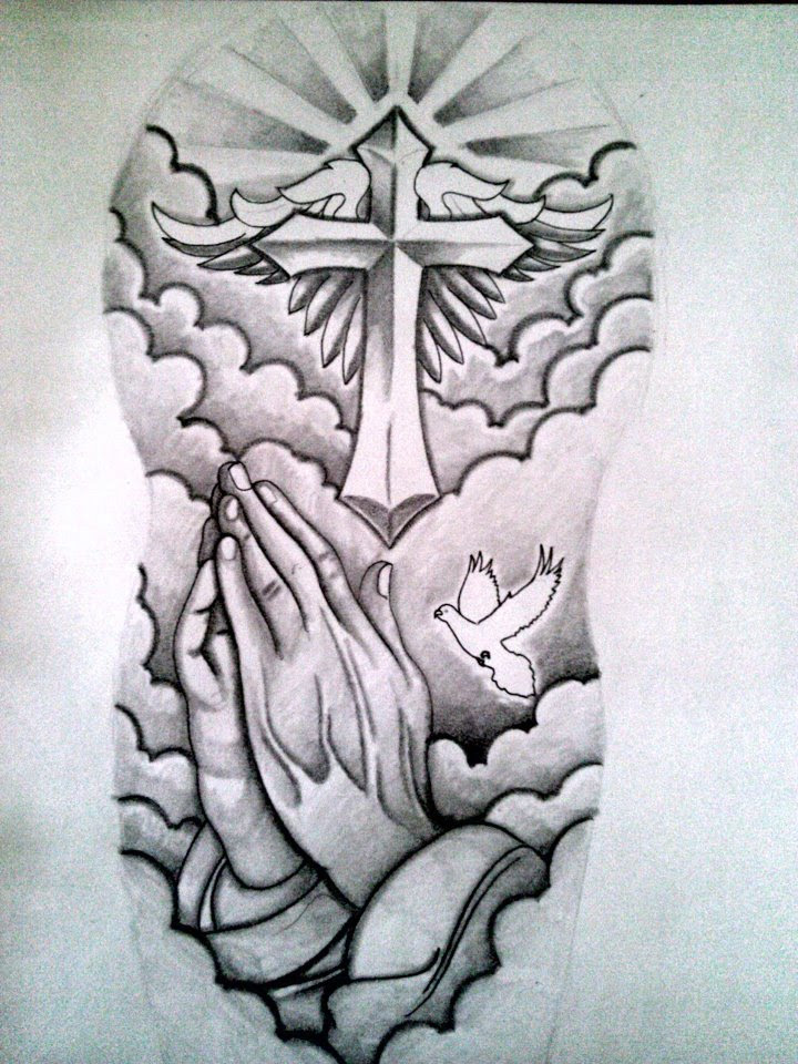 Cross And Praying Hand Sleeve Tattoo Design