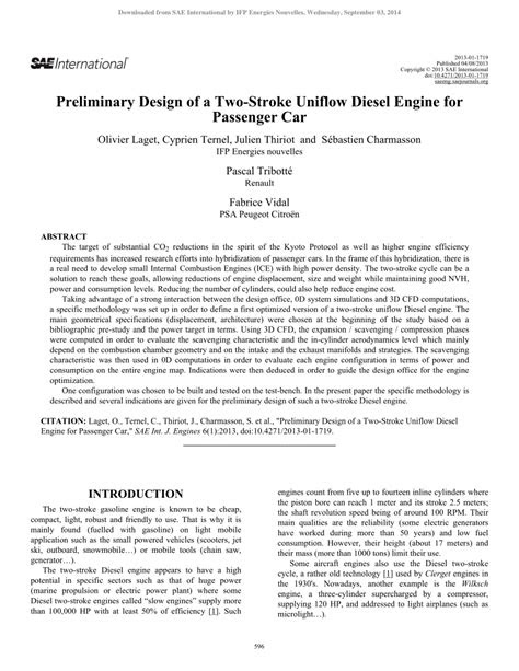 (PDF) Preliminary Design of a Two-Stroke Uniflow Diesel