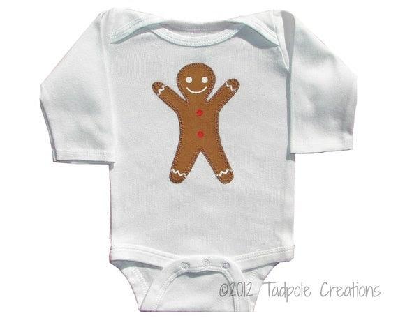 Gingerbread Man Baby Bodysuit - Newborn - 0 to 6 Months, 6 Months, 12 Months, 18 Months Sizes - LONG SLEEVE