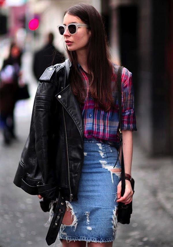 look-balada-saia-lapis-jeans-camisa-xadrez-style-how-to-steal-the-look
