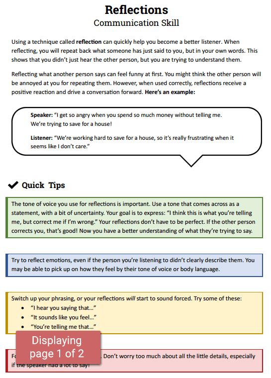 Reflections: Communication Skill Worksheet  Therapist Aid