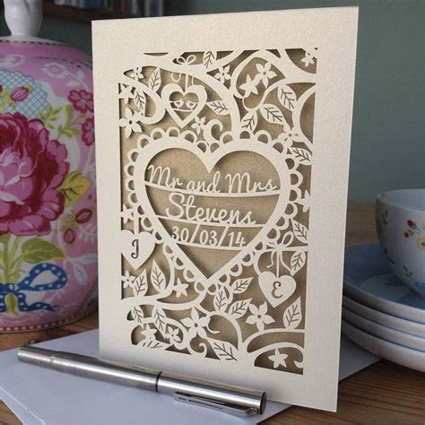 personalised papercut wedding card by pogofandango