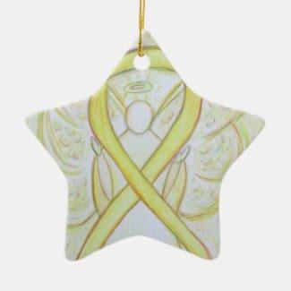 Yellow Awareness Ribbon Angel Pendant Ornament