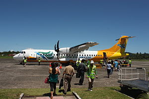 English: Cebu Pacific in Calbayog City Airport.