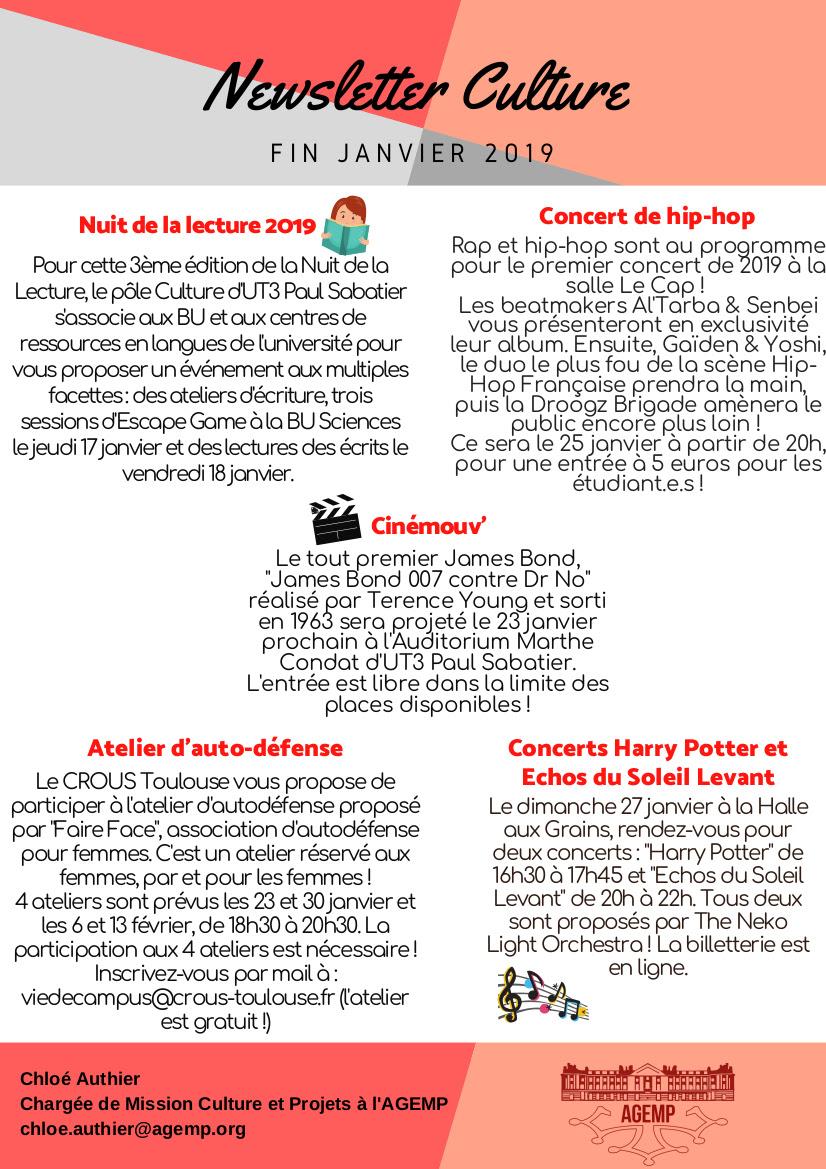 Newsletter Culture MiJanvier 2019  AGEMP  Les étudiant.e.s de Toulouse
