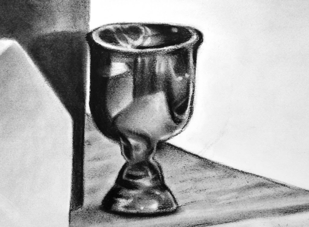 Charcoal Still Life Cup Detail