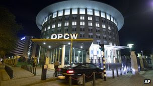 The OPCW headquarters in The Hague on 27 September 2013