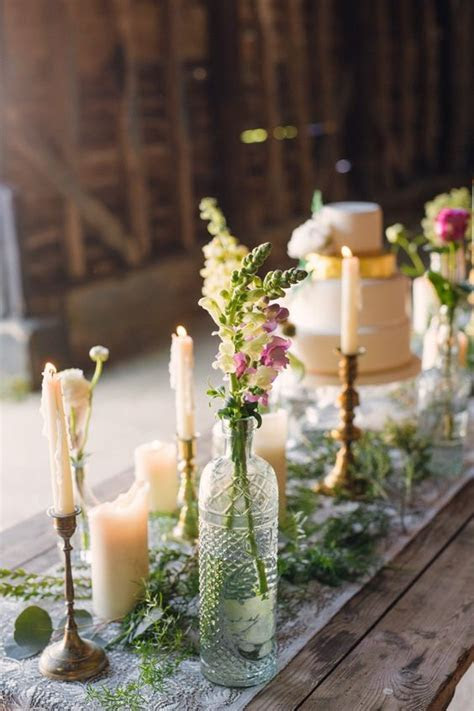Bottle, Table flowers and Wedding on Pinterest