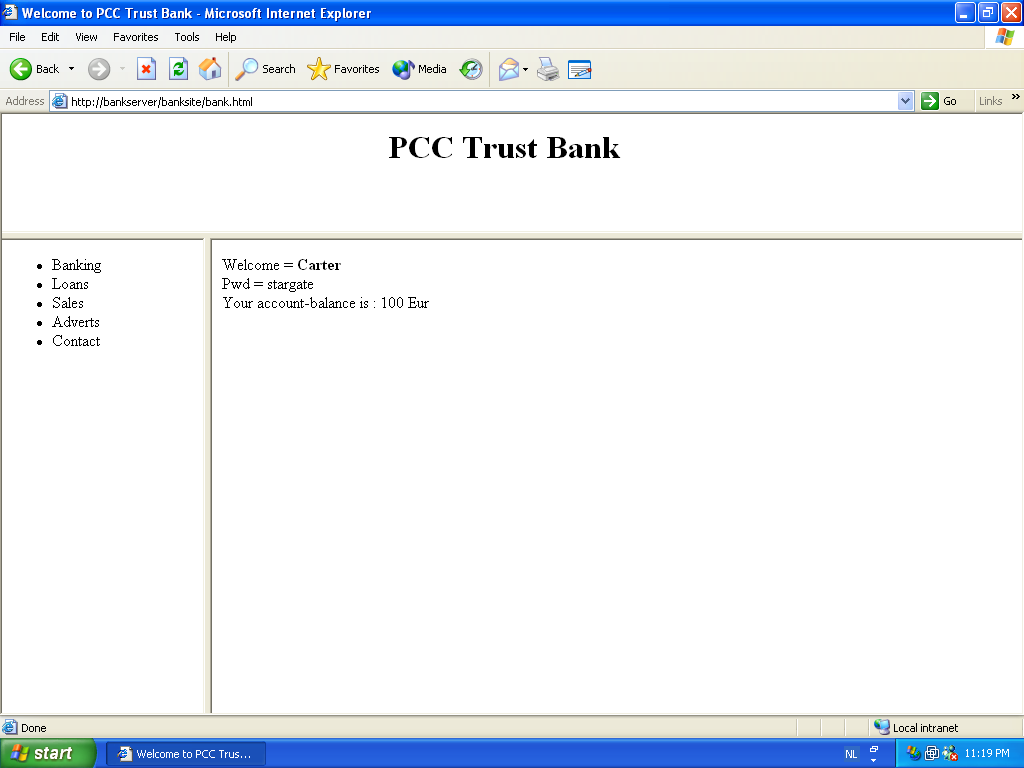 Screenshot of Internet Explorer opening the trusted Banksite