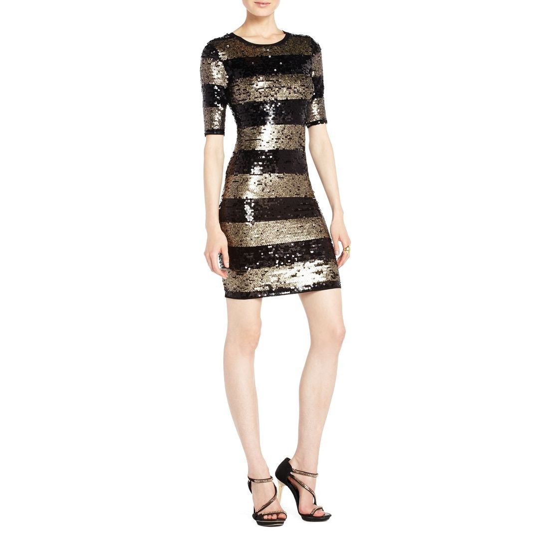 BCBGMAXAZRIA Marta Sequined Striped Cocktail Dress