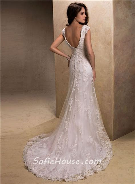 Slim A Line V Neck Cap Sleeve Low Back Lace Beaded Wedding