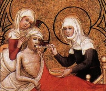St Elizabeth Clothes the Poor and Tends the Sick, by Unknown, 1390s