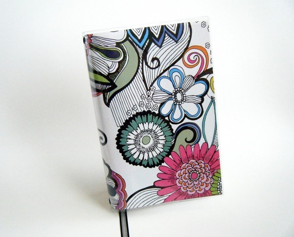 Sketched Flowers Book Cover with Ribbon Bookmark - LARGE Trade Paperback Size