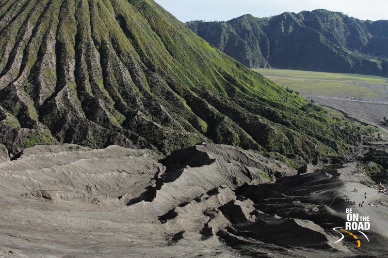 Standing on the path of the volcanic flow, Mount Bromo, Indonesia