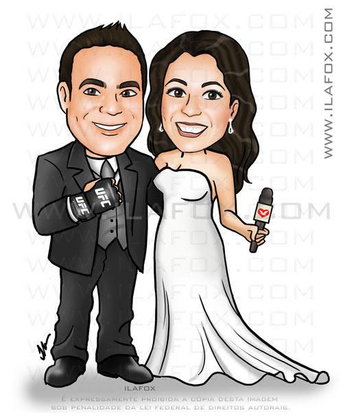 caricatura corpo inteiro, colorido, casal, noivos, noivo com luva da UFC e noiva repórter com microfone na mão, caricatura para casamentos by ila fox