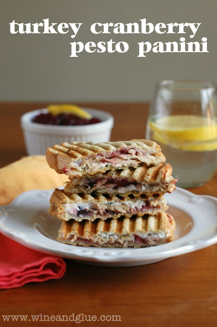 Leftover Turkey, Cranberry, & Pesto Panini | www.wineandglue.com | A delicious and easy way to use your left over turkey and cranberry sauce!