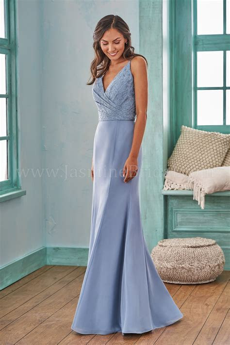 B203007 Long V neck Fit and Flare Lace & Poly Chiffon