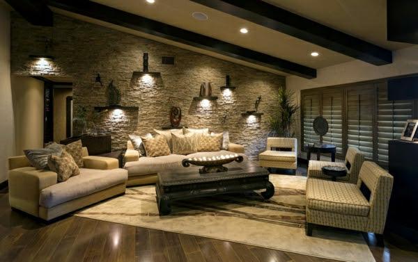 Wohnzimmer Gestalten Bilder Sa Modeller Ideen Mit Natursteinwand