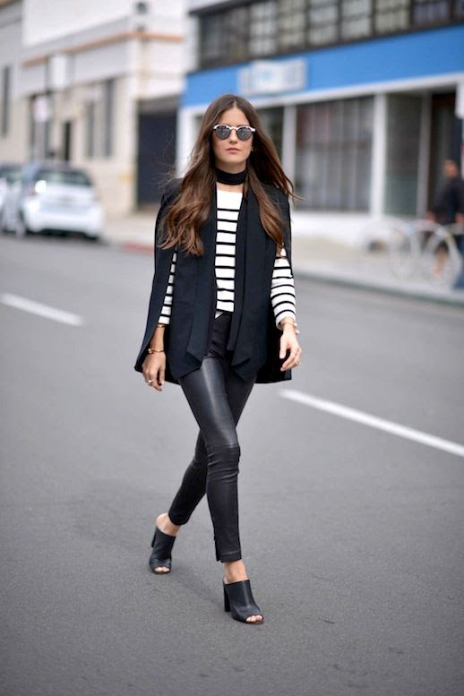 Le Fashion Blog Blogger Style Mirrored Sunglasses Cape Blazer Striped Sweater Black Leather Pants Mule Sandals Via Blank Itinerary
