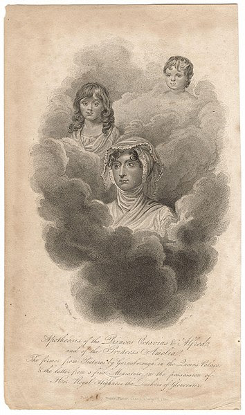 Engraving of Apotheosis of the Princes Octavius & Alfred, and of the Princess Amelia byWilliam Marshall Craig, 1820