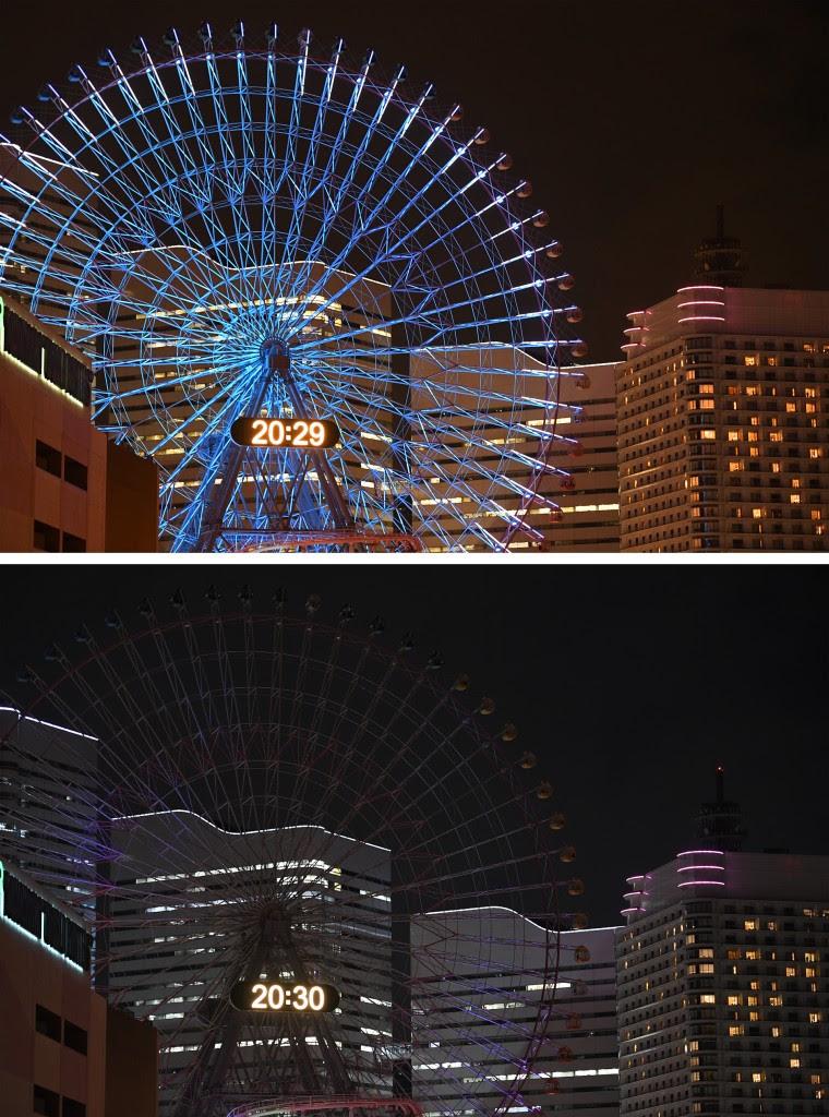 La rueda gigante de Yokohama, Japón, encendida en su versión habitual y apagada como adhesión a La Hora del Planeta