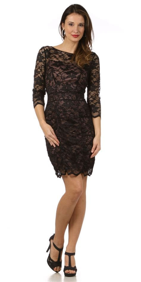 Black Lace Short Wedding Guest Dress With Sleeves Modest