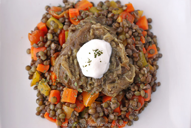 Lentils with roasted eggplant
