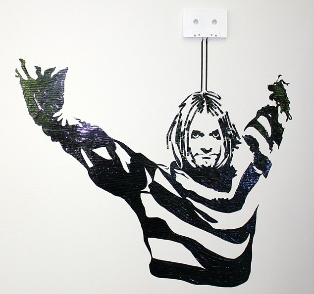 An iconic image of Kurt Cobain from Nirvana has been recreated out of cassette tape