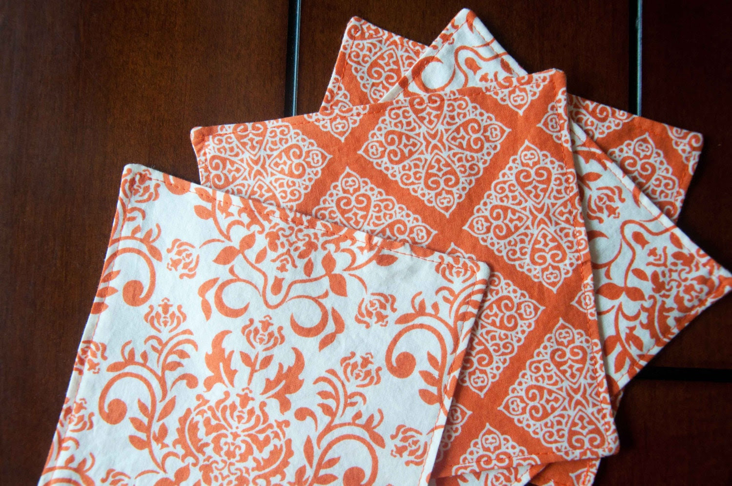 Cocktail/Dessert Napkins, Thanksgiving, reversible, 6x6, set of 4