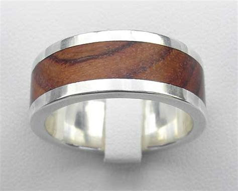 Men's Wood Inlay Silver Wedding Ring : LOVE2HAVE in the UK!