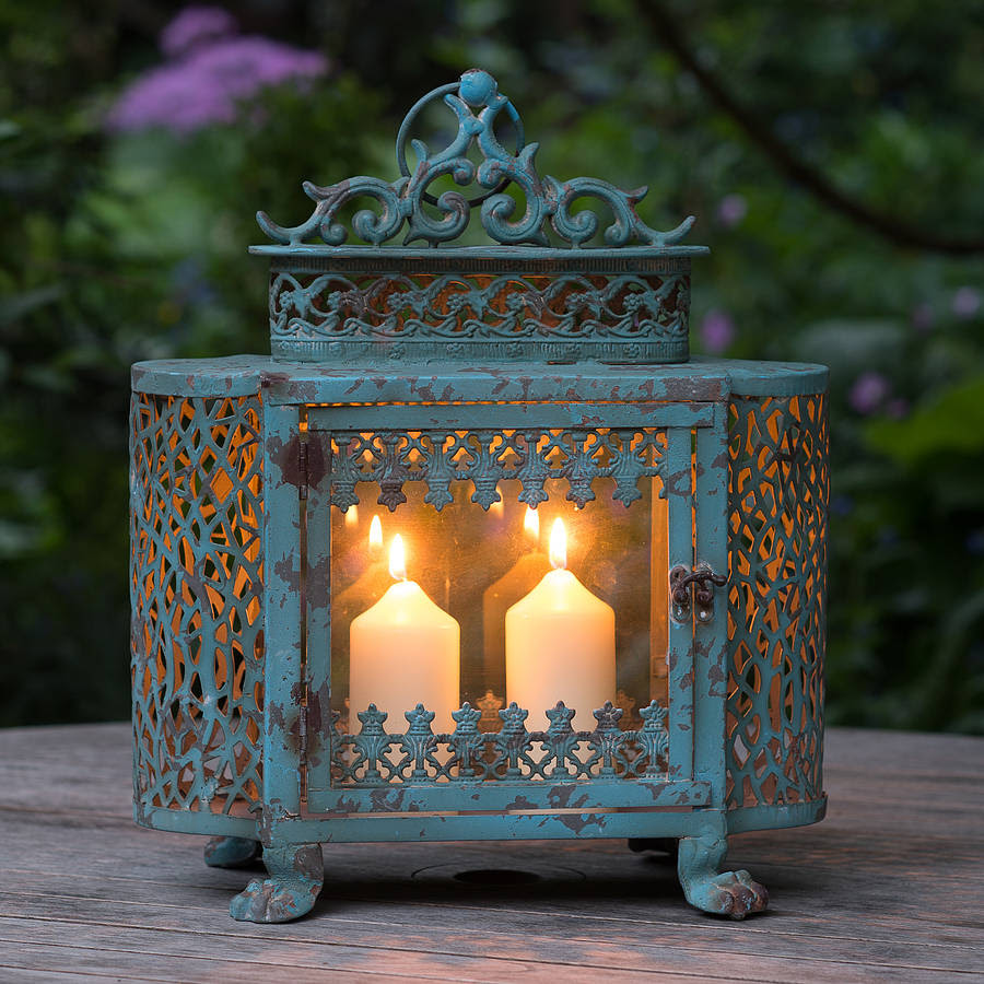 french blue antique style lantern by the flower studio ...