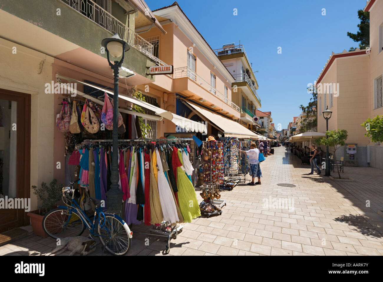 Shops on Lithostroto, Argostoli, Kefalonia, Ionian Islands, Greece Stock Photo