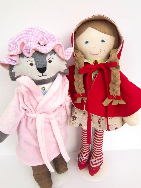 Little Red Riding Hood Big Bad Wolf Cloth Doll Rag Doll Ready to Ship