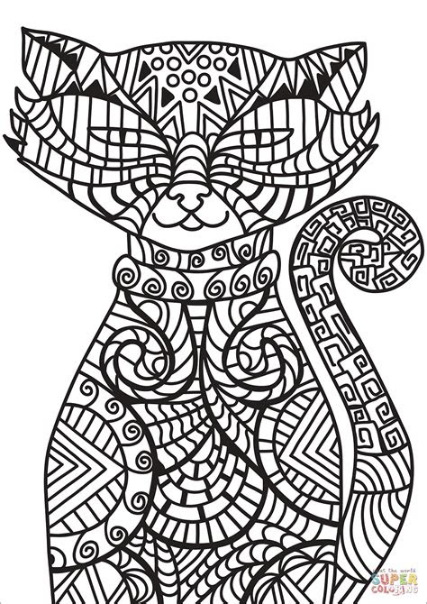 zentangle cat coloring page  printable coloring pages