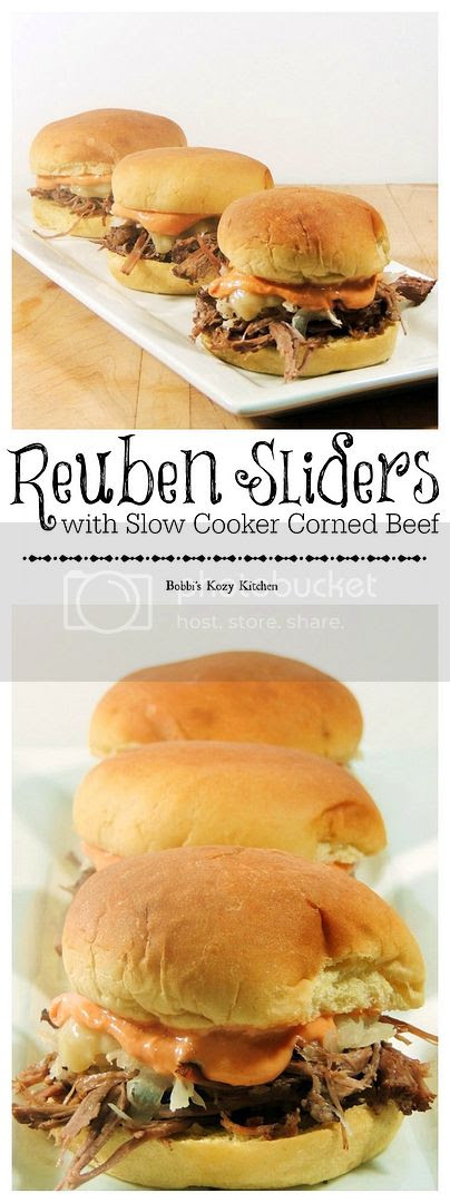 Make these tasty little sammies for your St Patrick's Day festivities. They are cute, tasty, and sure to please your guests! BONUS is that you make the corned beef in your slow cooker for set it and forget it preparation.