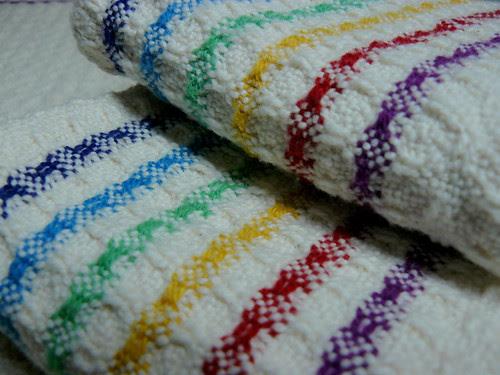 Handwoven Huck Rainbow Stripes Towels