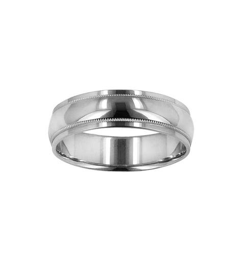 mens mm domed wedding band kt white gold amoro
