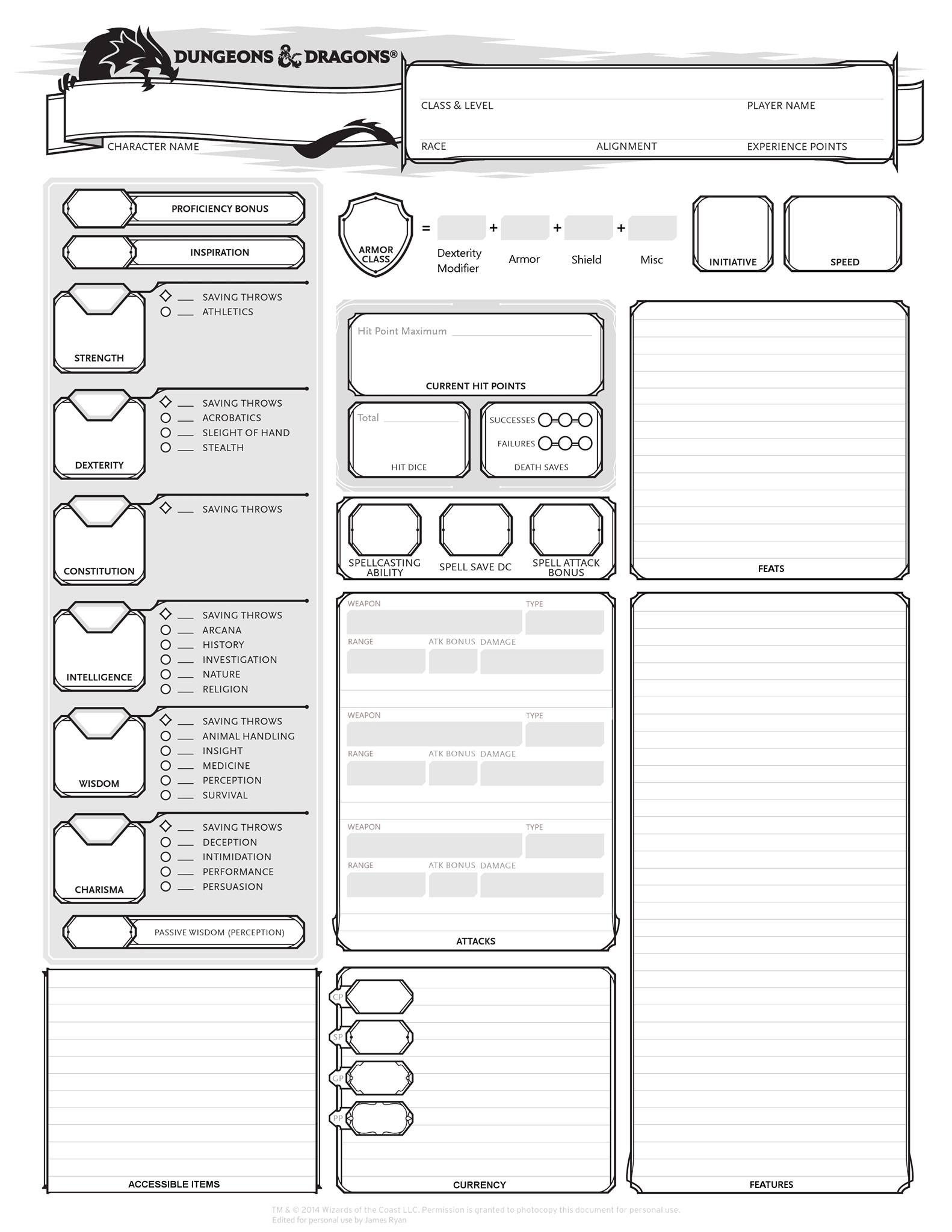 Dd Character Sheets 5th Related Keywords & Suggestions - Dd ...