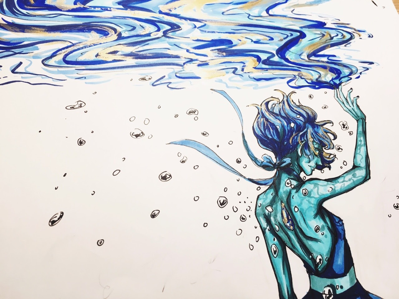Inktober 13 I'm still 3 days behind and this is starting to get frustrating :/. But I actually looked up images of lapis lazuli and apparently it contain gold streaks (very sad the character designers...