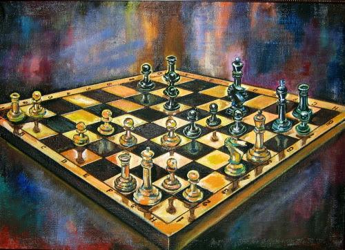 Obra de arte de Nina Silaeva que muestra un tablero de ajedrez