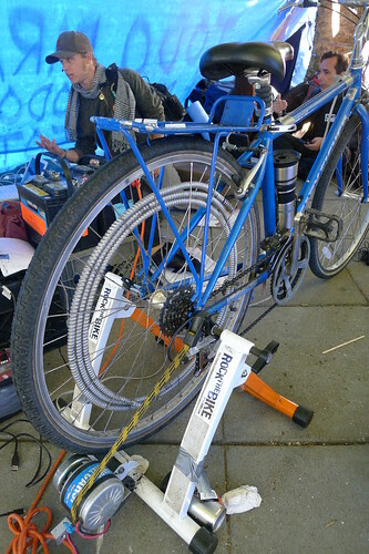 Low cost generator created by Rock The Bike's electrical wizard Jake, donated to Occupy SF