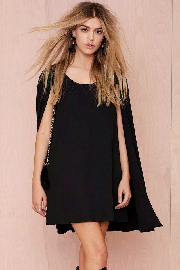 Le Fashion Nasty Gal Catherine Black Cape Dress Under 100 Budget Friendly Model Joanna Halpin Long Hair Knee High Boots Date Night Style