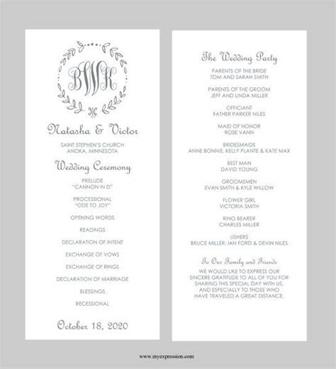 wedding program templates ideas  pinterest
