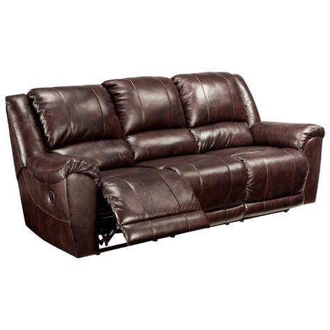 ashley furniture yancy walnut reclining sofa