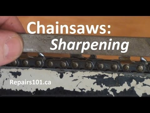 it-yourself instructional on sharpening a chainsaw by hand using files