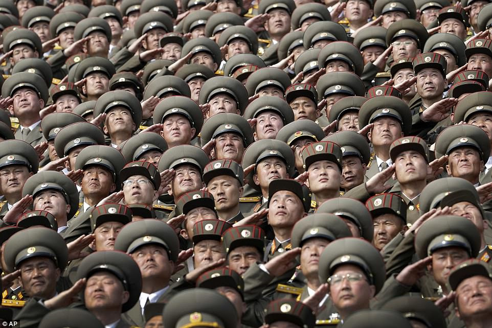 Thousands of troops took part in the parade on a day to mark what would have been the 105th birthday of the country's founder, Kim Il Sung