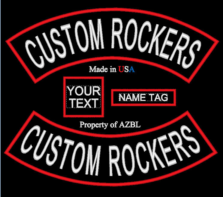 CUSTOM EMBROIDERED PATCH ROCKERS NAME MC SET CLUB PATCH MADE IN USA  eBay