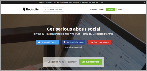 Hootsuite - example of social media management tools