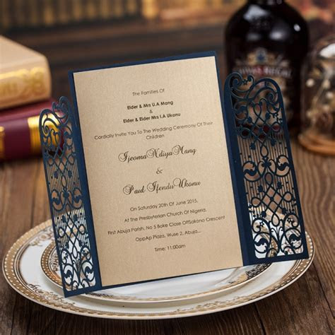 Cheap Navy Gate Laser Cut Wedding Invitations, Rustic and